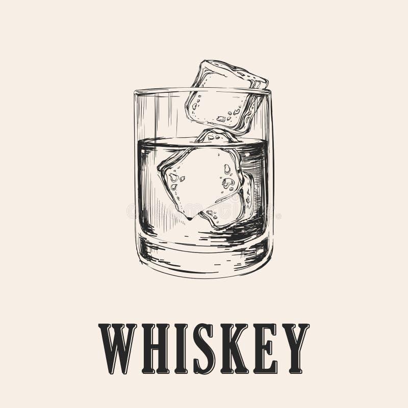 szkła odosobniony odbicia whisky biel Ręka Rysująca napoju wektoru ilustracja ilustracja wektor