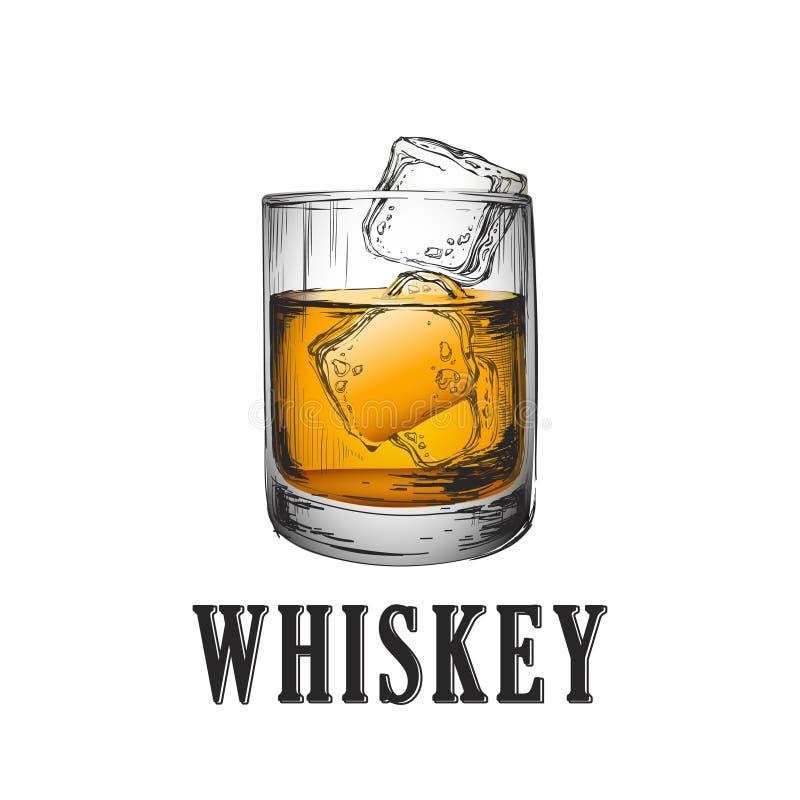 szkła odosobniony odbicia whisky biel Ręka Rysująca napoju wektoru ilustracja royalty ilustracja