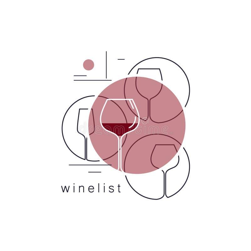 szkła ustawiający wino Liniowe wektorowe ikony ilustracja wektor