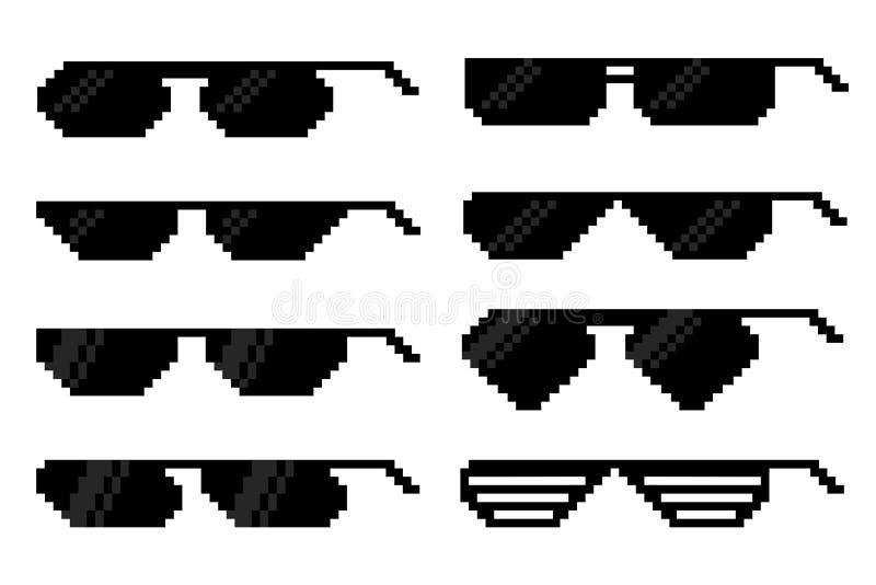 Szkła w piksel sztuki stylu Set akcesoria dla wzroku ilustracja wektor