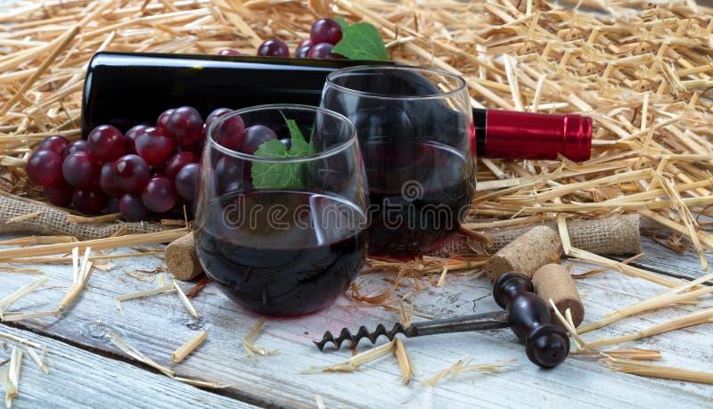Szkła wypełniali z czerwonym winem plus butelka i winogrona w backgroun zdjęcia stock