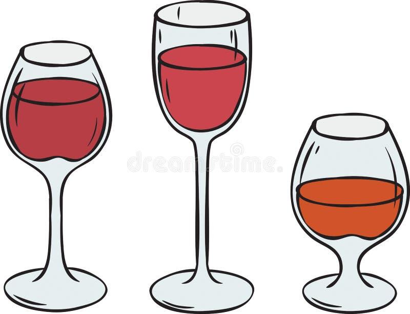 Szkła z winem i Brandy ilustracji