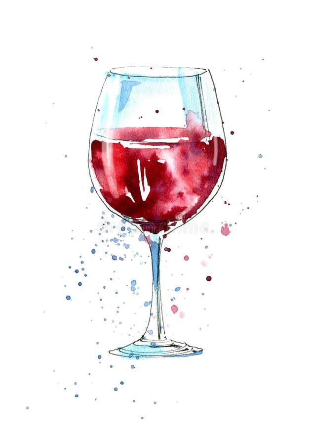 Szkło czerwone wino royalty ilustracja