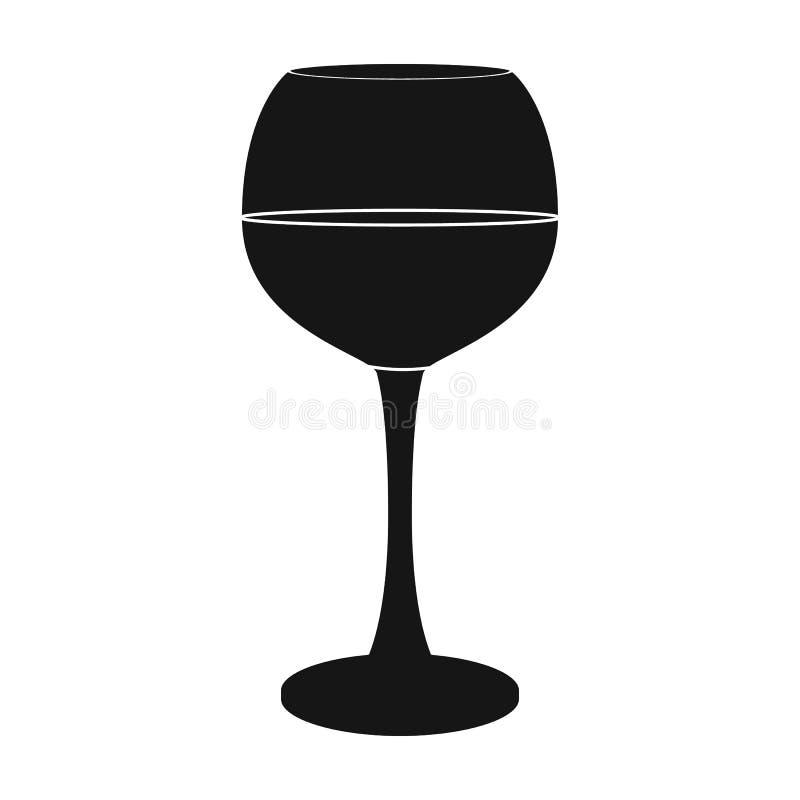 Szkło czerwone wino ikona w czerń stylu odizolowywającym na białym tle Wino produkci symbol ilustracji