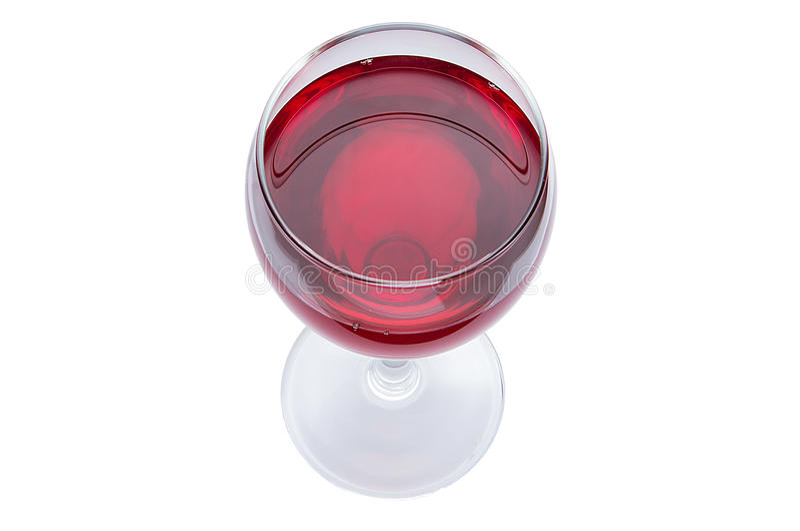 Szkło czerwone wino jest odgórnym widokiem Alkoholiczny napój na białym tle fotografia royalty free
