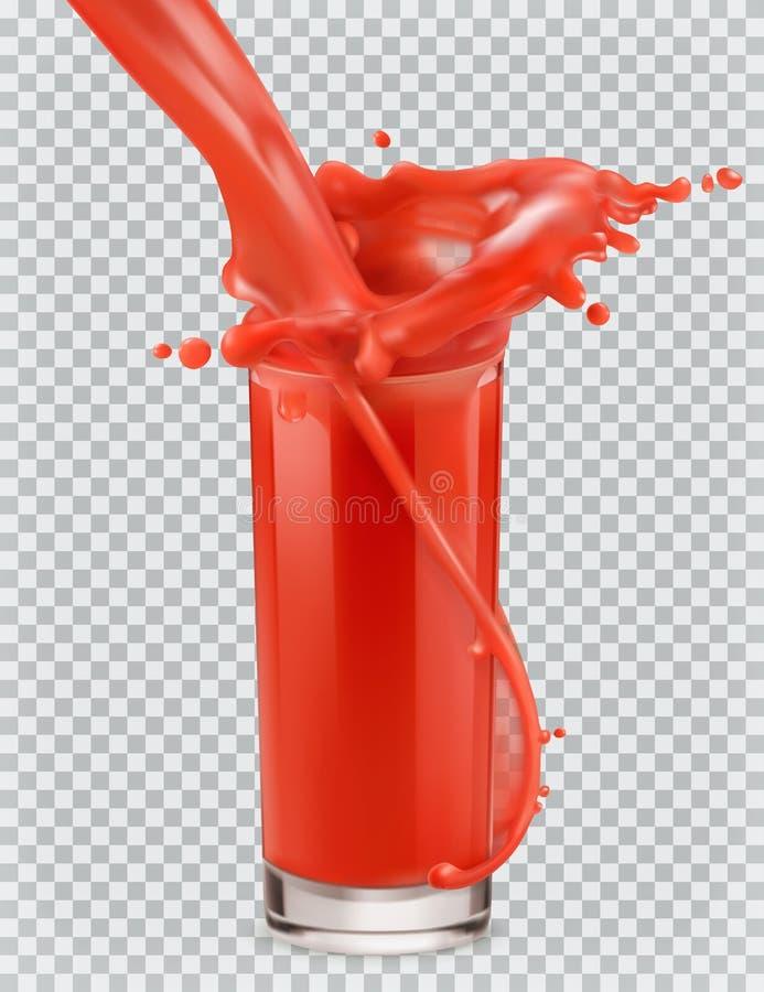 Szkło czerwony sok i pluśnięcie Pomidor, truskawki przygotowywa ikonę ilustracja wektor
