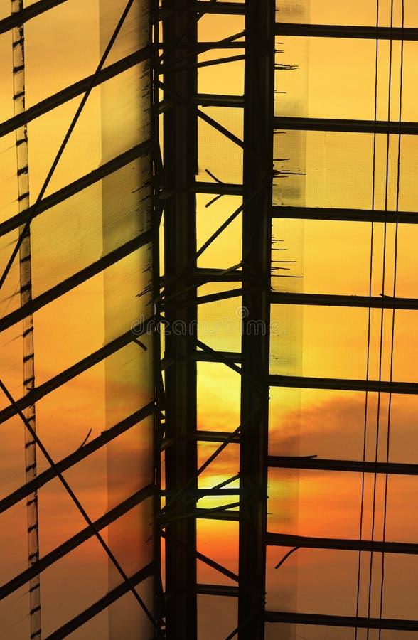 Szkło dachu szczegół Bangkok dworzec nad zmierzchem zdjęcia royalty free