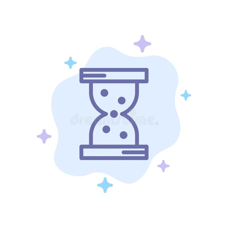 Szkło, godzina, Ogląda Błękitną ikonę na abstrakt chmury tle ilustracji