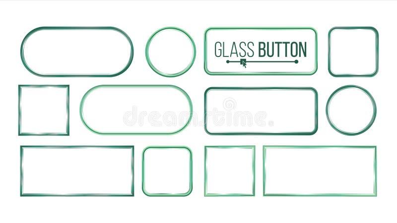 Szkło guziki, ramy Wektorowe Kwadrat, Round, Prostokątny Szklanych talerzy elementy Realistyczni talerze Plastikowi sztandary royalty ilustracja