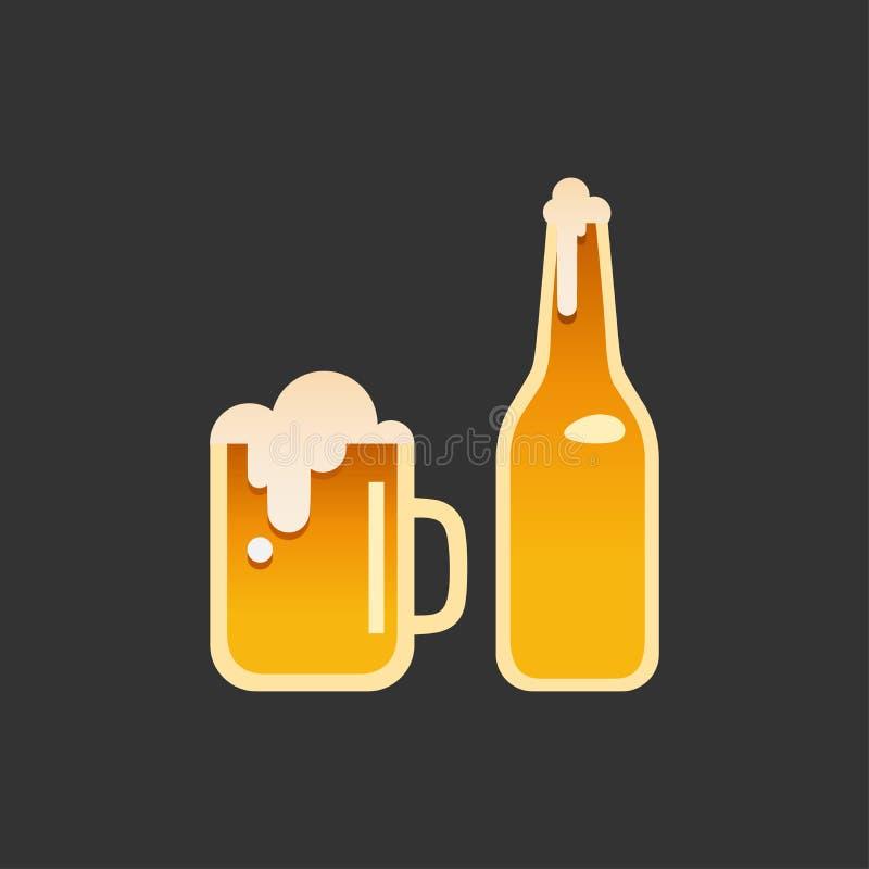 Szkło i butelka piwo royalty ilustracja