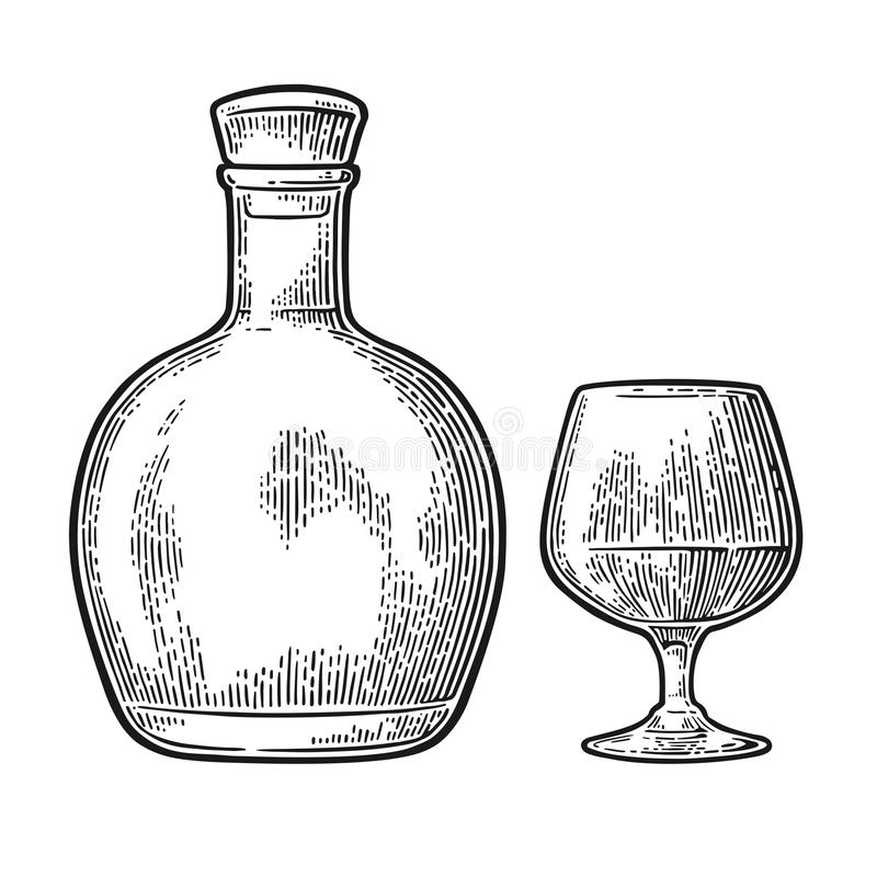 Szkło i butelka rum z trzciną cukrowa ilustracji