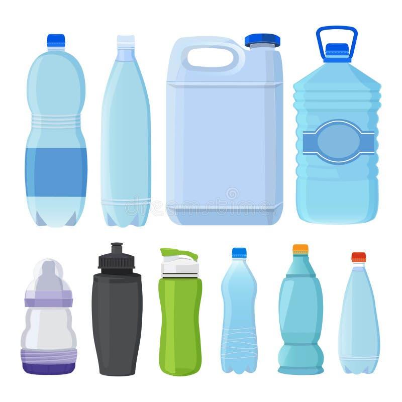 Szkło i plastikowe butelki różni typ dla alkoholu i wody ilustracja wektor