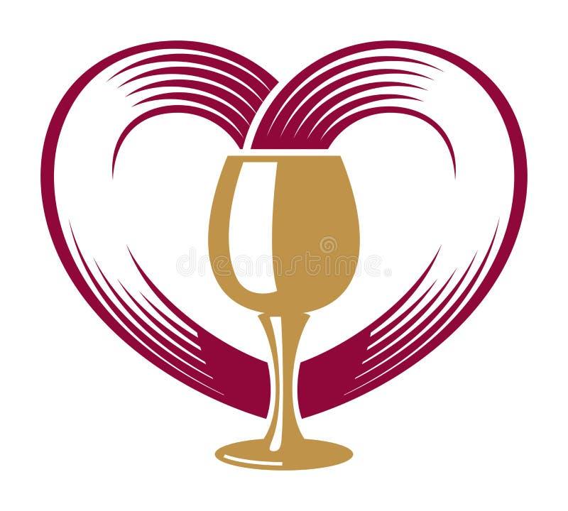 Szkło i wino który tworzy serce ilustracji