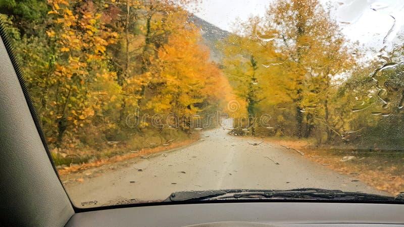 Szkło jesieni zimy podeszczowy drogowy jeżdżenie obrazy stock