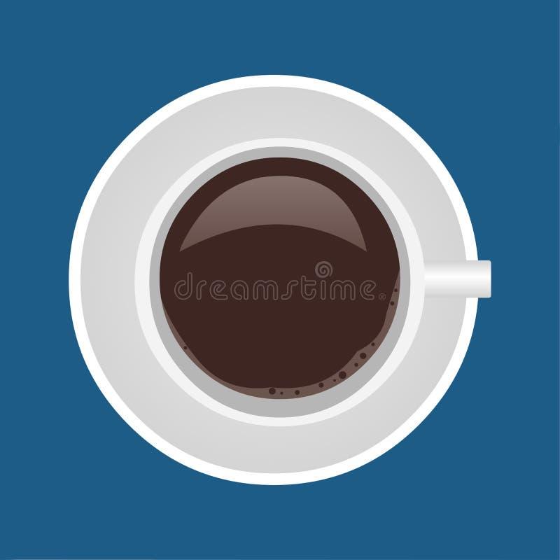 Szkło kawowy widok od odgórnej wektorowej symbol ilustracji ilustracja wektor