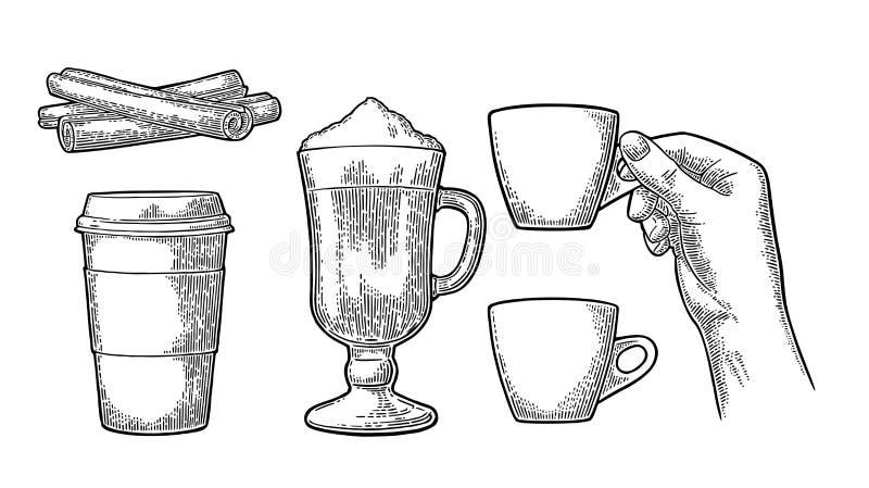 Szkło Latte macchiato kawa z batożącą śmietanką royalty ilustracja