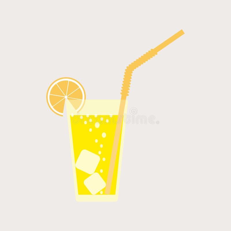 Szkło lemoniada, soda z lodem Cytryna sok Szkło cytryna koktajl z słomą również zwrócić corel ilustracji wektora ilustracji