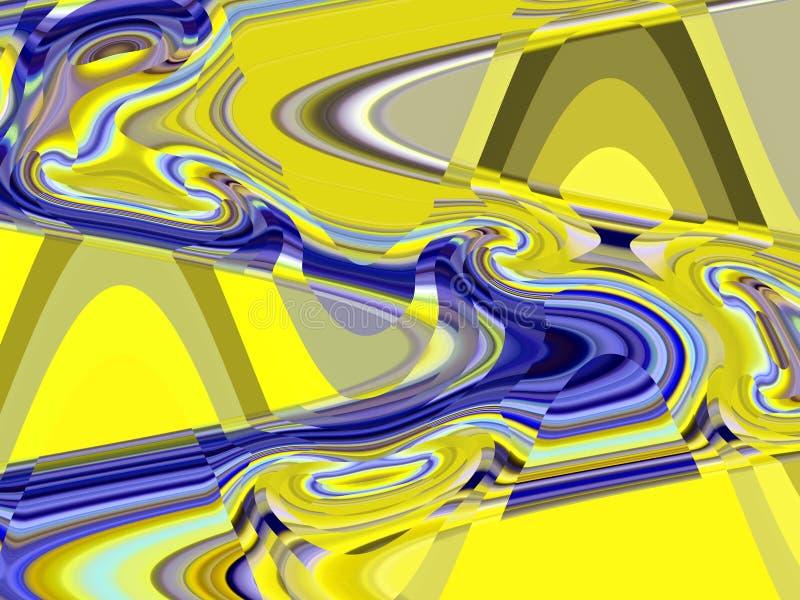 Szkło lubi miękkiego rzadkopłynnego żółtego niebieskich linii geometrii tło, grafika, abstrakcjonistycznego tło i teksturę, royalty ilustracja