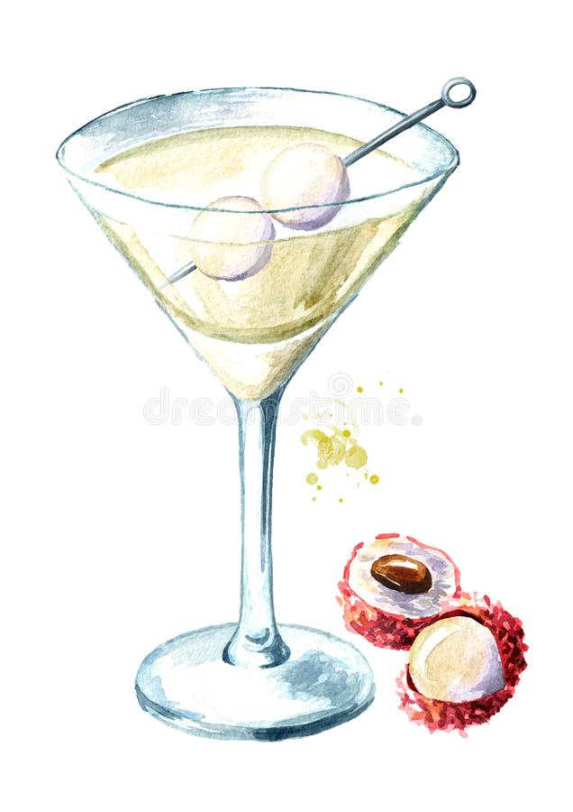 Szkło Martini z lychee Akwareli ręka rysująca ilustracja odizolowywająca na białym tle ilustracja wektor