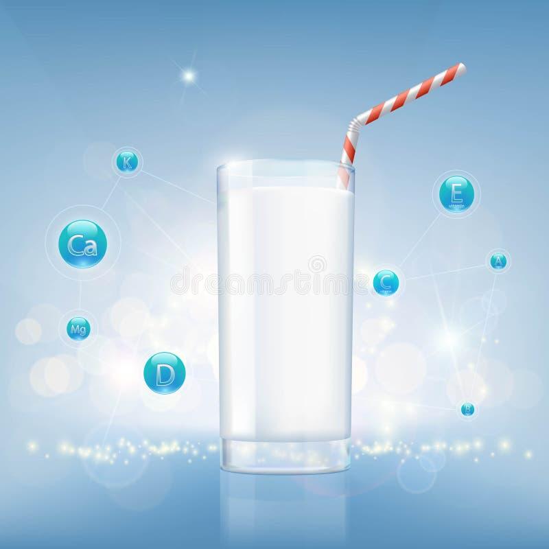 Szkło mleko na tle witaminy i odżywki akcyjny v ilustracji