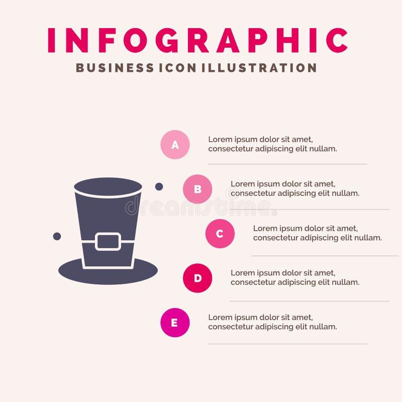 Szkło, napój, wino, Piwny Stały ikony Infographics 5 kroków prezentacji tło ilustracji