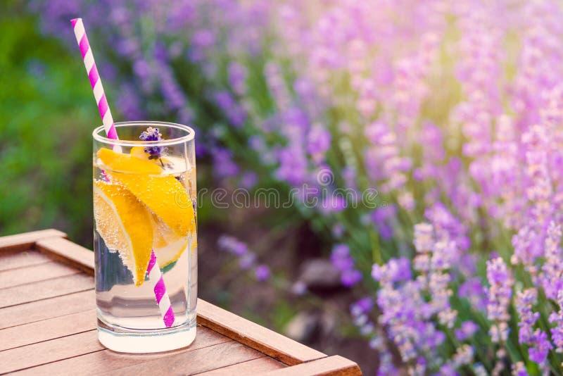 Szkło odświeżająca lemoniada nad drewnianym krzesłem Kwitnąca lawenda kwitnie w tle fotografia stock