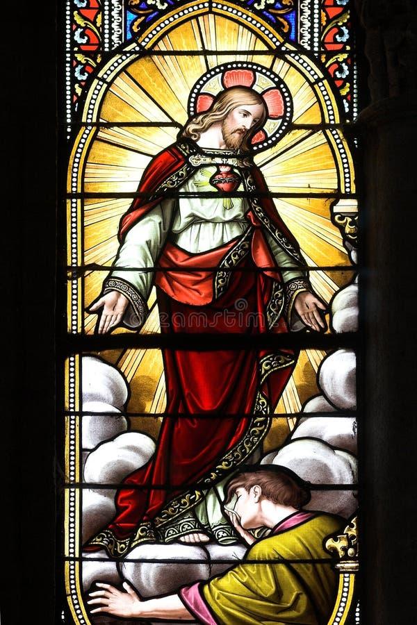 szkło okna oznaczony Jezusa zdjęcie stock
