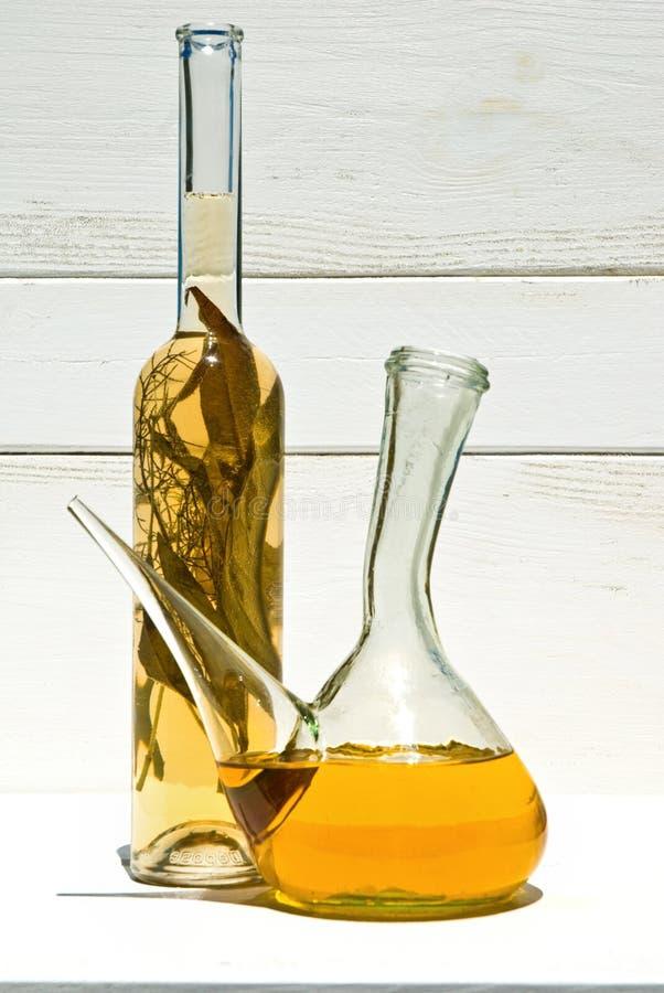 szkło olive octu oleju obraz stock