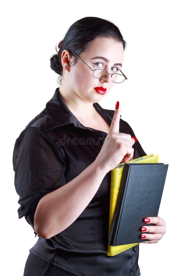 szkło palcowy wskaźnik pokazywać palcowy kobiety obraz stock