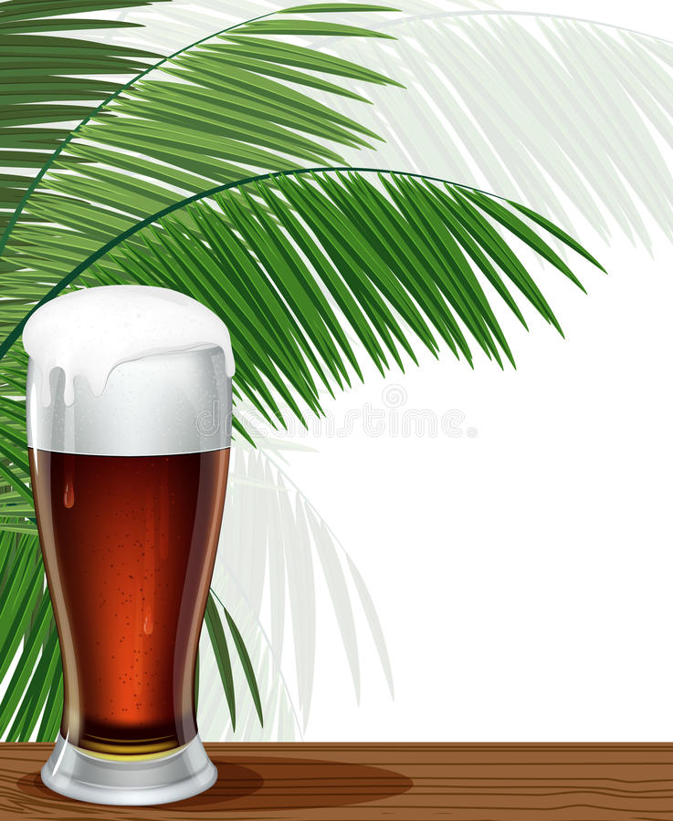 Szkło Piwa I Palmy Gałąź Fotografia Royalty Free