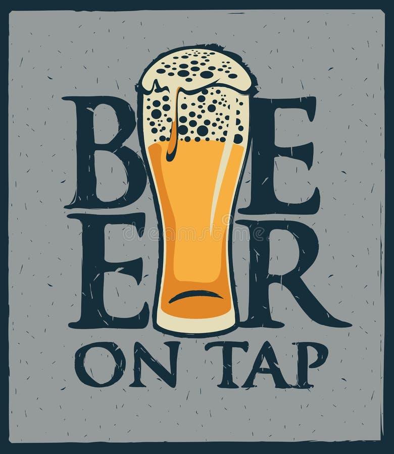 Szkło piwny menu ilustracji