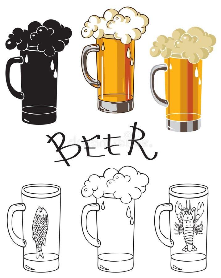 Szkło piwo z rakowym i rybim ilustracja wektor