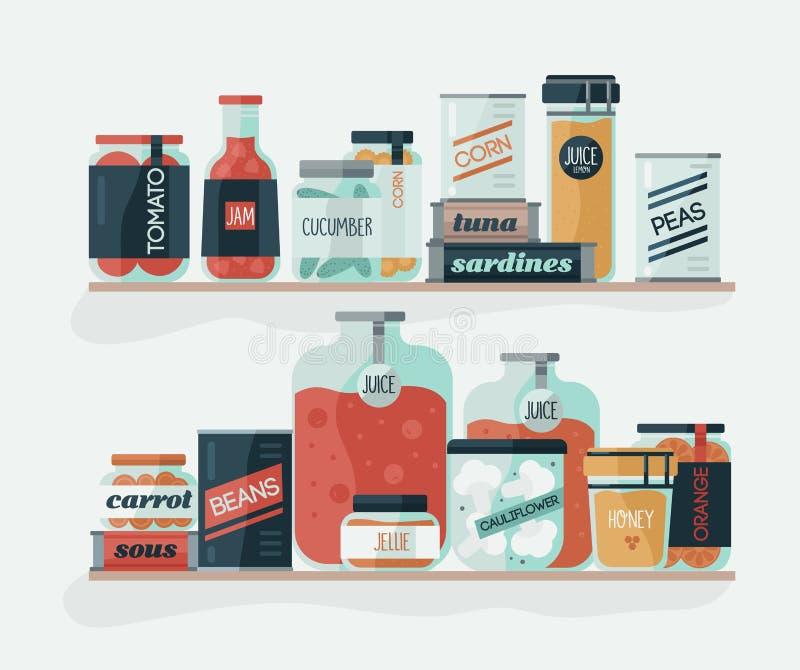Szkło puszki z kiszonymi warzywami na półkach i słoje Wyśmienicie konserwować jedzenie, organicznie odżywianie, domowej roboty pr ilustracja wektor