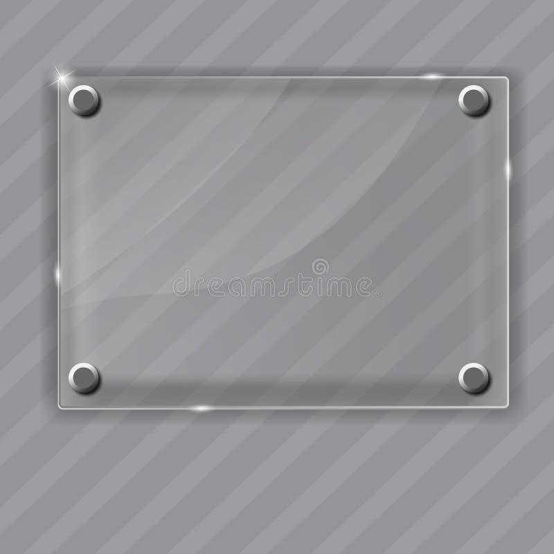 Szkło rama na abstrakcjonistycznym metalu tle. Wektor royalty ilustracja