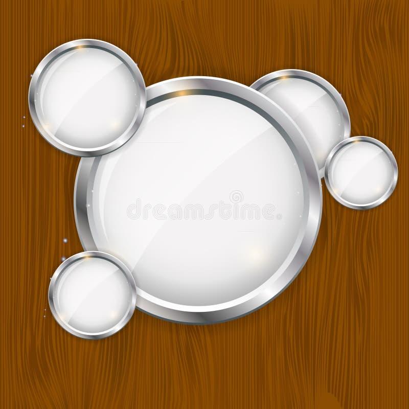 Szkło rama na drewnianym tle. wektor ilustracji