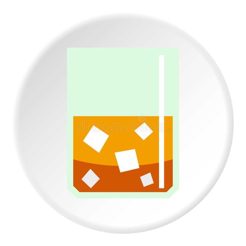 Szkło scotch whisky i lodu ikony okrąg ilustracja wektor
