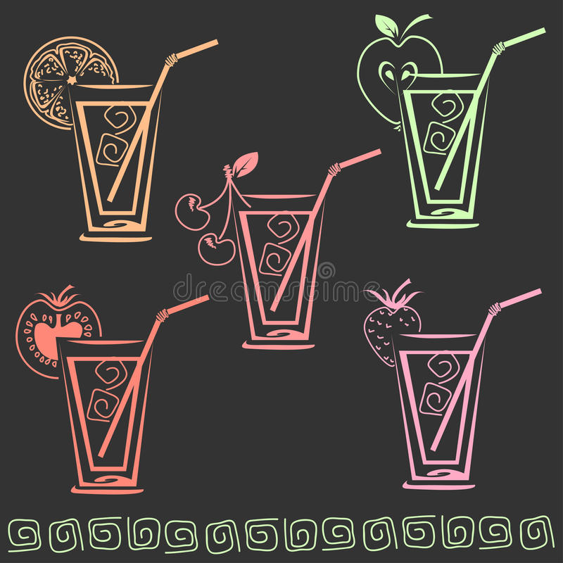 Szkło sok ikony set royalty ilustracja