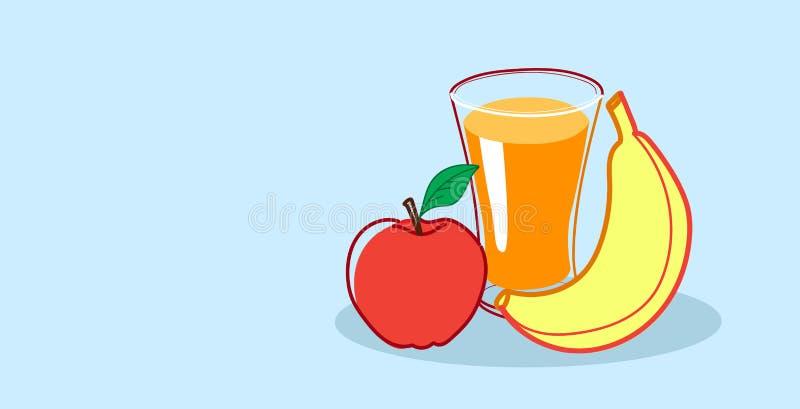 Szkło sok pomarańczowy z jabłczaną i bananową zdrową karmową ręką świeżych owoc pojęcia nakreślenia rysujący horyzontalny royalty ilustracja