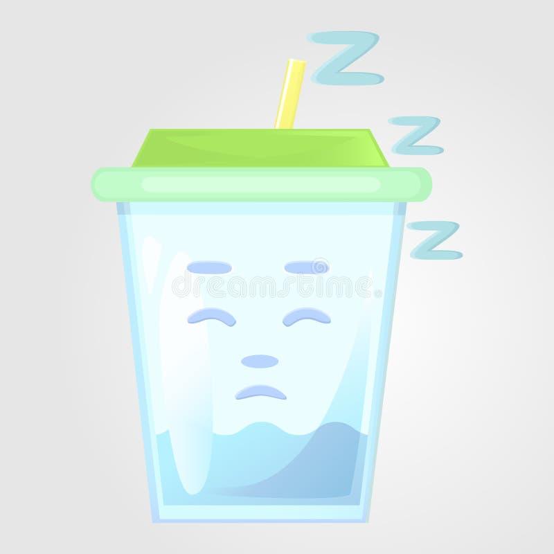 Szkło sok z deklem i tubką karafki cytrusa napoju lodu pomarańczowa lato woda Emocjonalna ikona śpiąca, uśpiony, zmęczony, royalty ilustracja