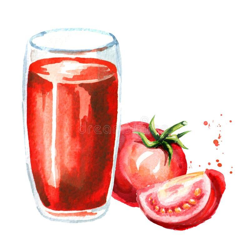 szkło soku pomidora Akwareli ręka rysująca ilustracja, isola royalty ilustracja