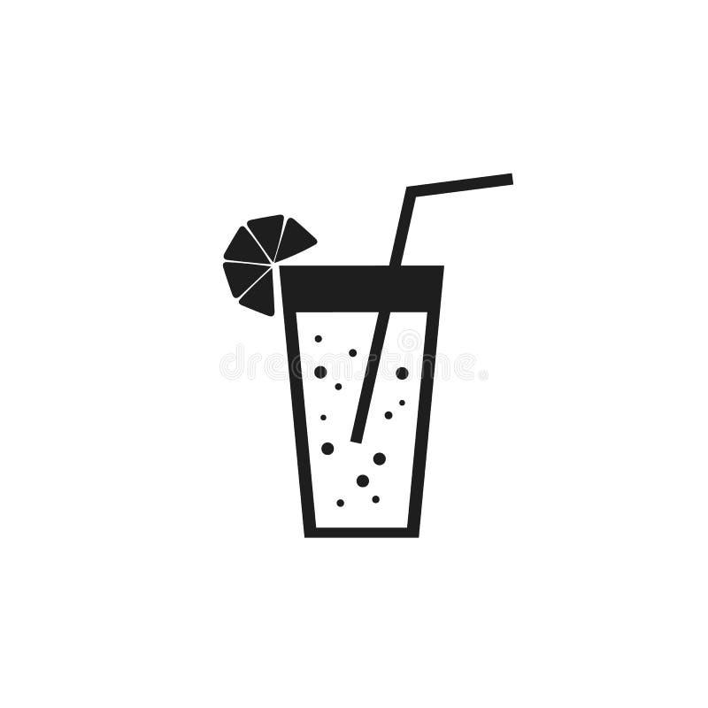 Szkło soku restauracyjnego koktajlu cukierniana lemoniada z cytryna napoju napoju czerni ikony znakiem na białym tle royalty ilustracja