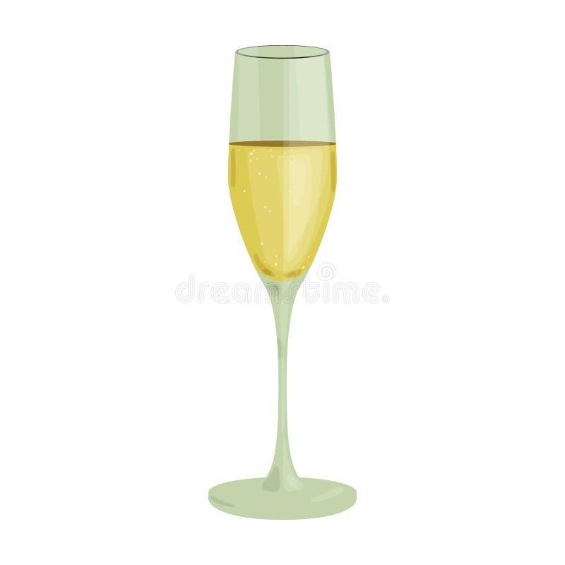 Szkło szampańska ikona w kreskówka stylu odizolowywającym na białym tle Wino produkci symbolu zapasu wektoru ilustracja ilustracja wektor