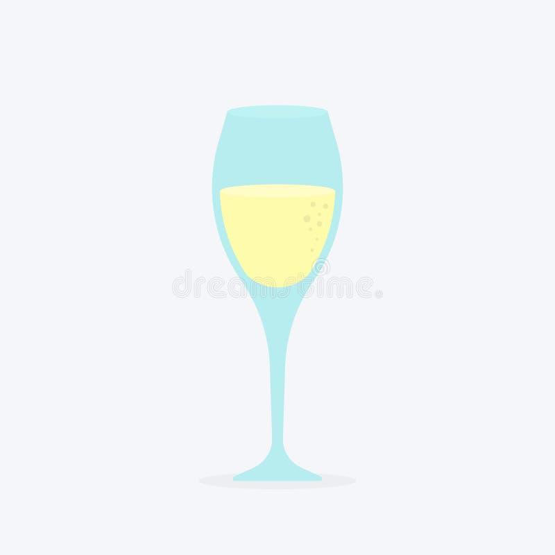 Szkło szampański klasyczny luksusowy alkoholu napój w elity glassware, fizzy drogiego wytwórnia win odświeżający napój z bąblami royalty ilustracja