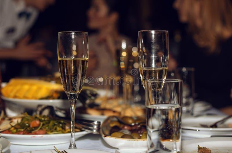 Szkło szampan i przekąska obrazy royalty free