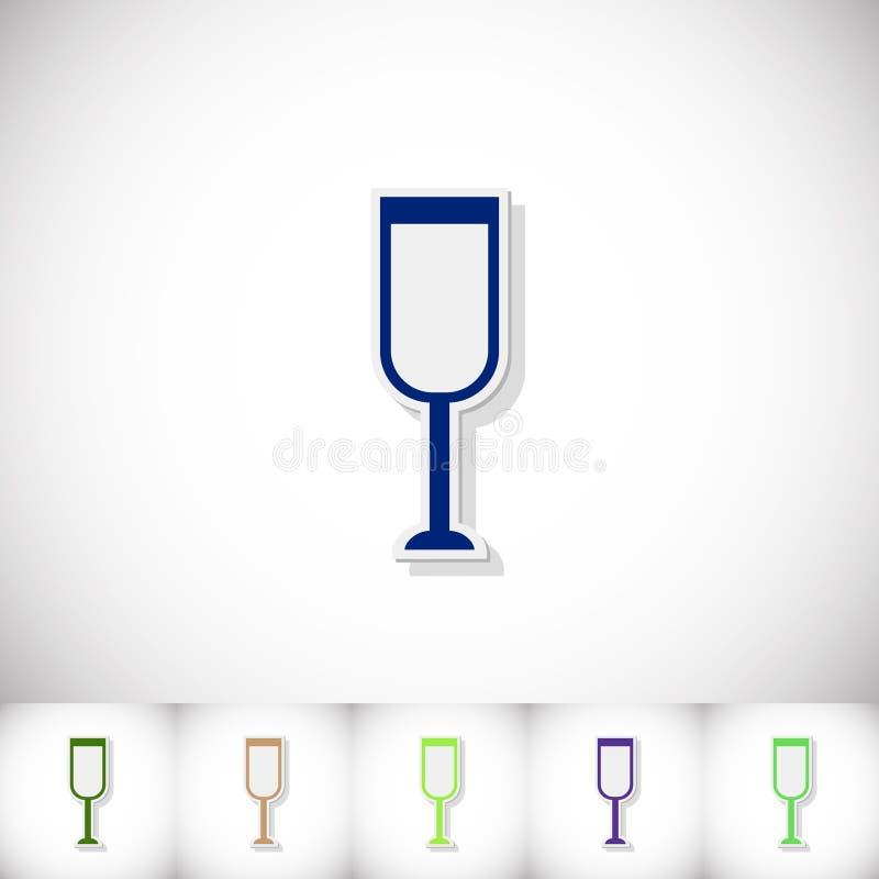 Szkło szampan Płaski majcher z cieniem na białym tle royalty ilustracja