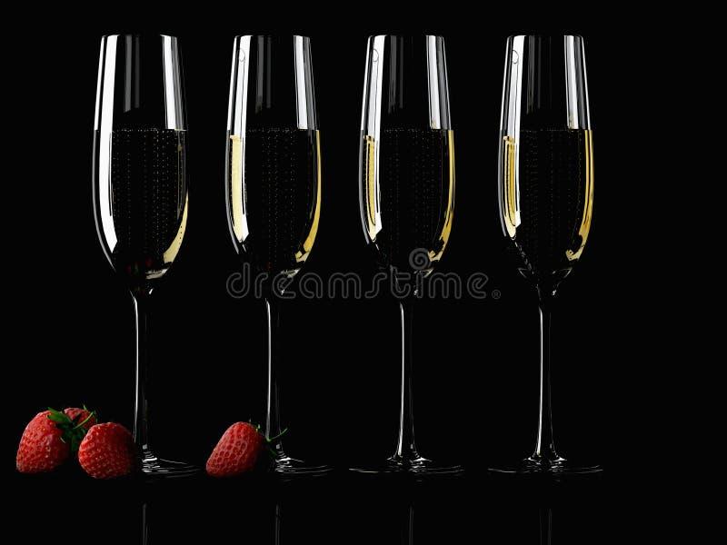 Szkło szampan z truskawką zdjęcia stock