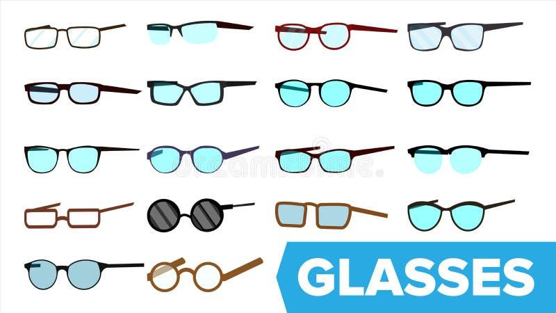 Szkło Ustawiający wektor Nowożytna szkło ikona Różni Eyewear typ Eyeglasses Z ramą Błękitny Lense Płaska kreskówka ilustracji