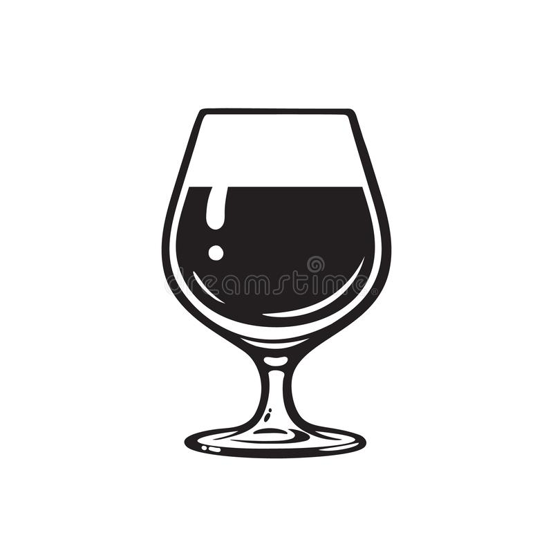 Szkło wino, brandy, koniak lub whisky, Wineglass ikona Snifter piwny szkło t?a ilustracyjny rekinu wektoru biel royalty ilustracja
