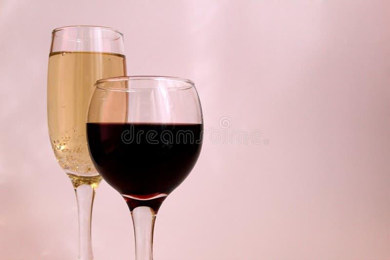 Szkło wino i szkło szampan fotografia royalty free