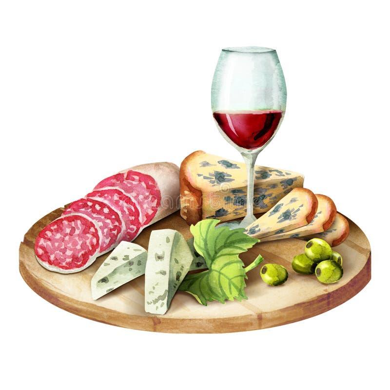 Szkło wino, uwędzony mięso, kiełbasa i ser na talerzu, zdjęcia stock